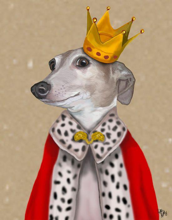 Greyhound Queen 14x11 Art Print Art Giclee Print Acrylic Painting Illustration Dog Print wall art wall decor Wall Hanging Whippet Print