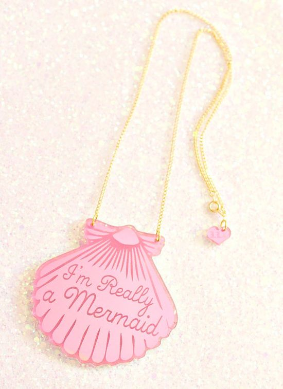 A Mermaid gave me this Pink Shell Necklace Gold by ilovecrafty, £20.00