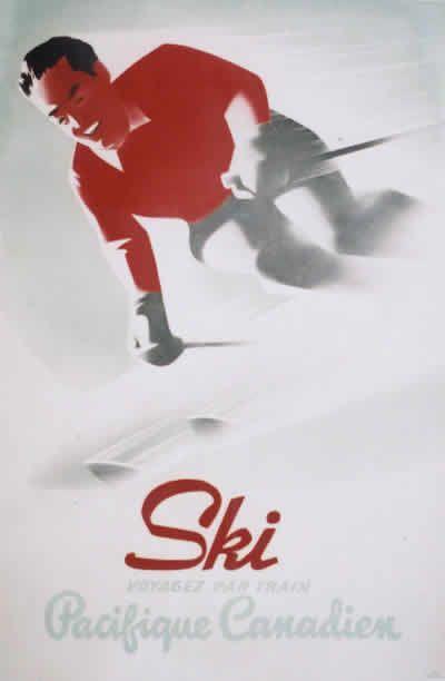 Vintage French language Pacific Canadian railways travel poster advertising ski trips.
