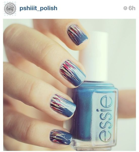 Cool Fall nail art.