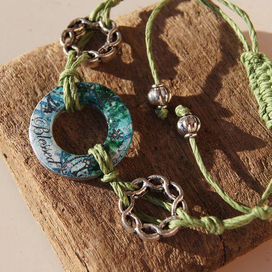 Blue Green 'Blessed' Hemp Cord Macrame Adjustable Sliding Knot 'Circles of Inspiration' Handmade Charm Bracelet. MEMBER - AnnaPereira