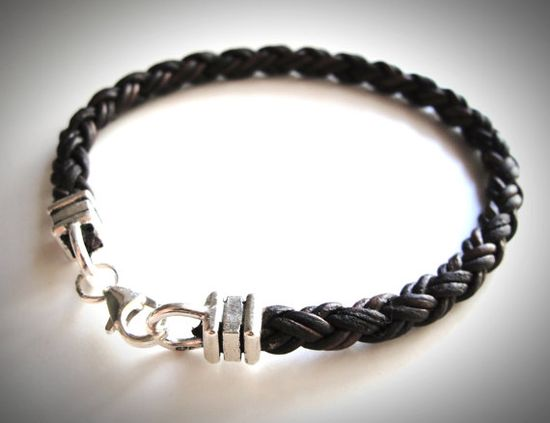 Sterling & Braided Leather bracelet by JewelryByMaeBee on Etsy.