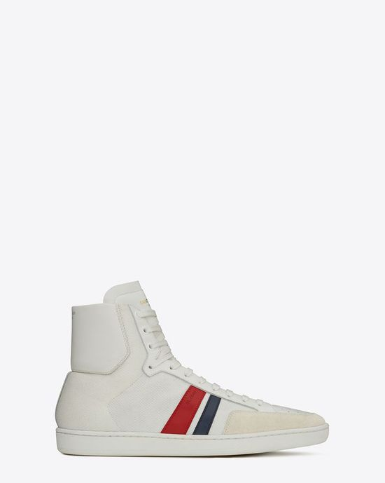 Saint Laurent Classic SL/04M High Top Sneaker In Powder White, Optic White, Fighter White, Midnight Blue And Red Leather