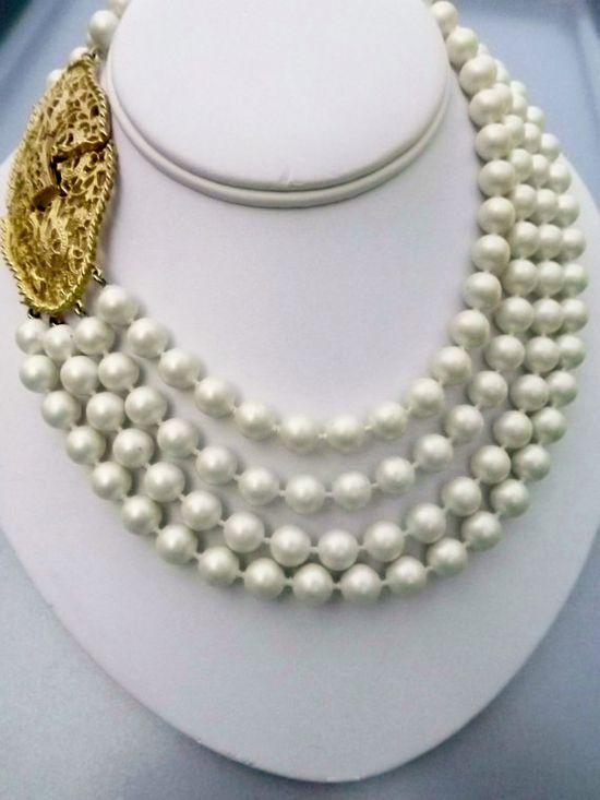 Vintage Satin Pearls Multi Strand  Decorative Clasp 1950 1960