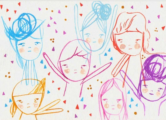 original painting illustration drawing paper- the celebration kids.   Pretty Little Thieves