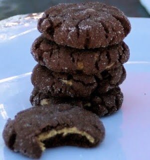 Magic in the Middle Cookies- chocolate cookies stuffed with peanut butter! So good!