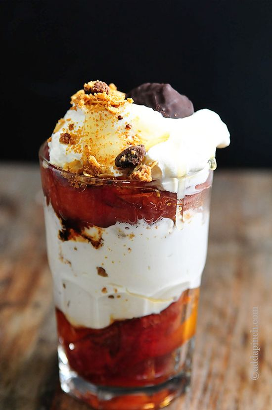 Roasted Peach Parfaits from @addapinch