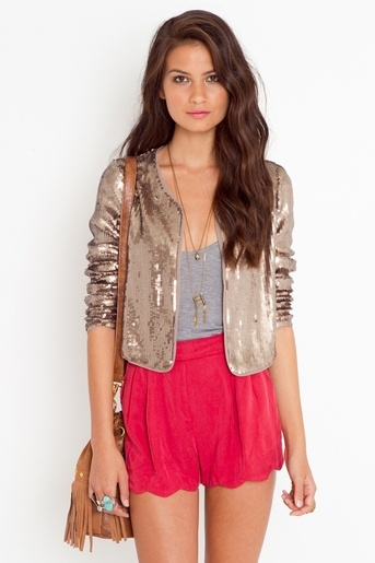 sequin + bright shorts. done.