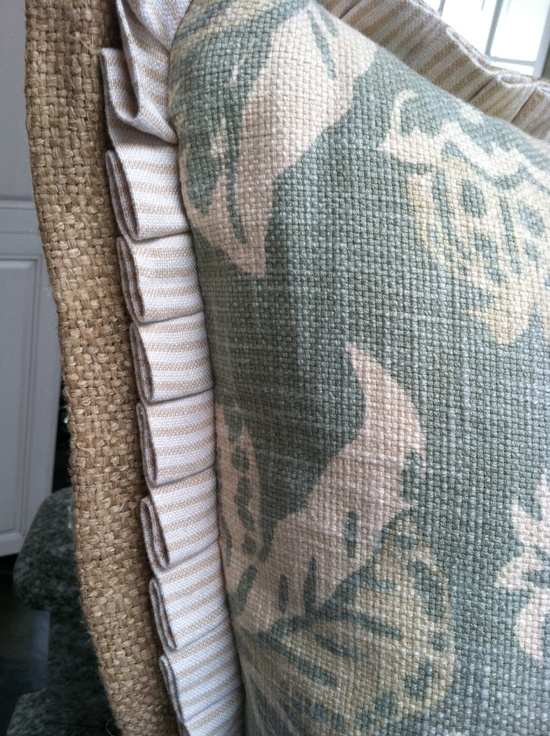 Burlap flange with pleated ruffle detail on pillow - Quatrine Custom Furniture