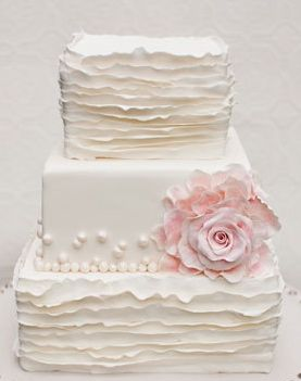 ruffled square #wedding #cake ~ This is so simple but classy! Hire the perfect wedding providers for your special day for free online at www.Jellifi.com