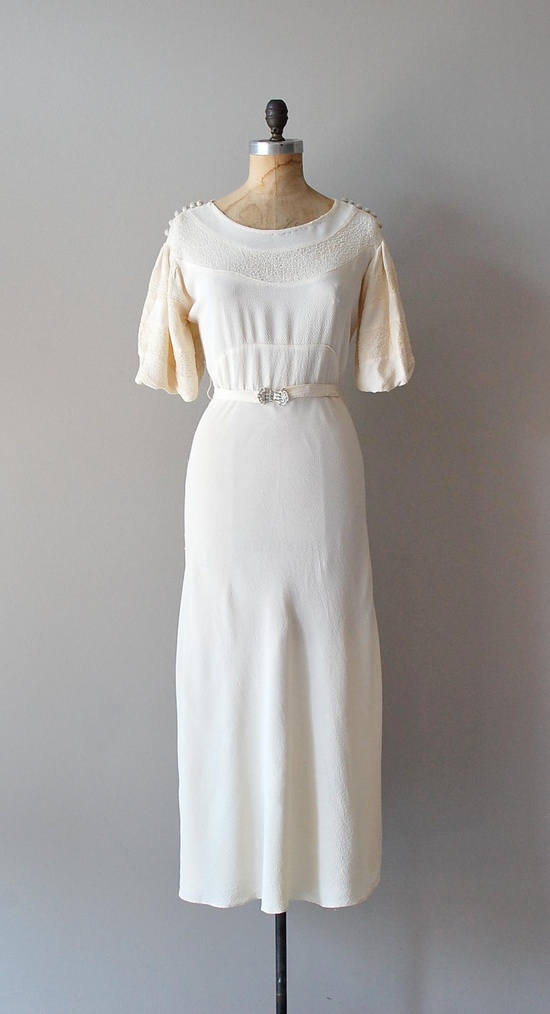 vintage 1930s wedding dress / 30s dress / Begin The Beguine gown