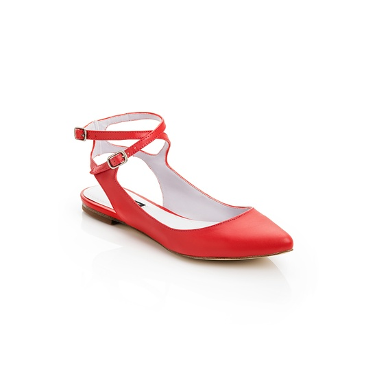 red strapped flats