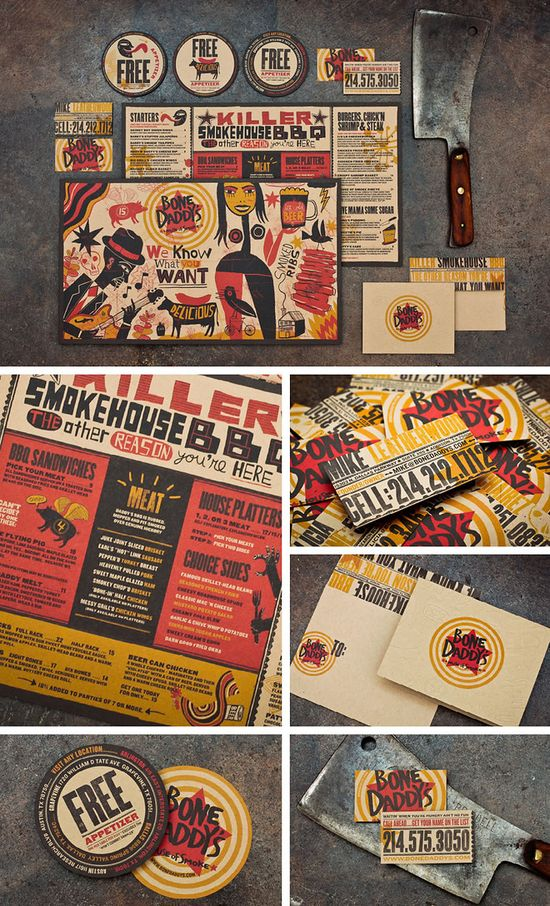 Cool branding package for Bone Daddy's Restaurant.