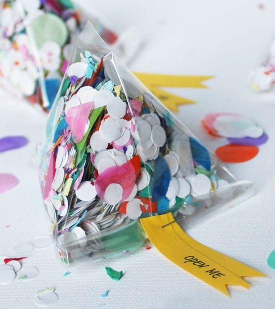 DIY Confetti Triangle Invitations