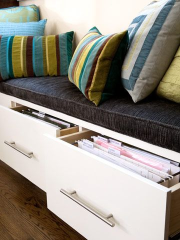 Pull out bench drawers as filing cabinets