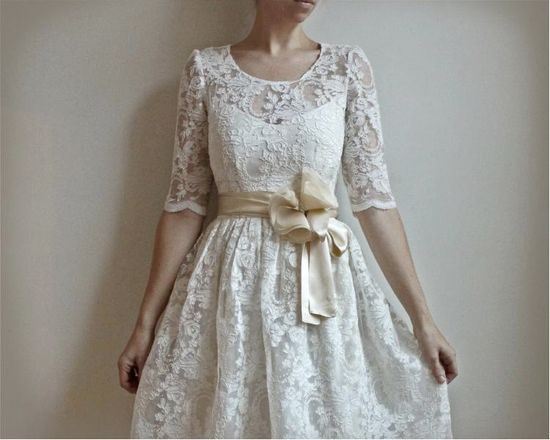 So fresh and pretty. Ellie 2 Piece Lace and Cotton Wedding Dress by Leanimal on Etsy. $695.00.
