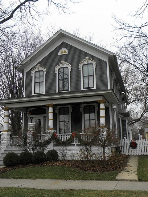 Dark Gray Victorian House