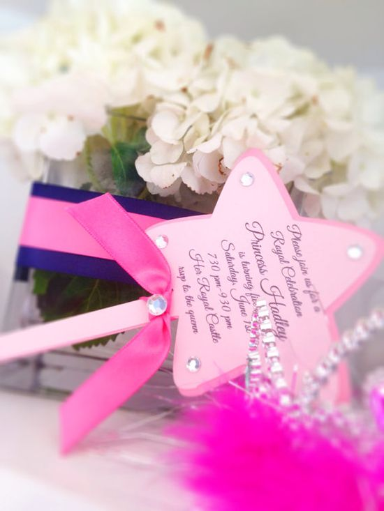 Princess party wand invitations by TakeitPersonallybyM on Etsy, $36.00