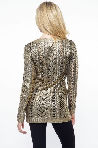 Gold Foil Knit Sweater