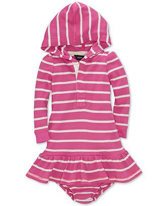 Ralph Lauren Baby Girls Dress, Baby Girls Striped Hooded Dress - Kids Baby Girl (0-24 months) - Macy's
