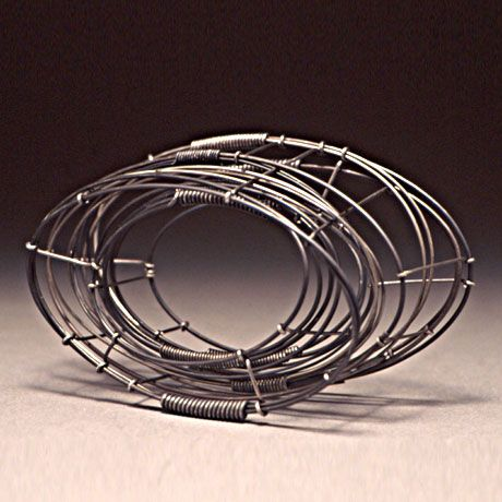 Donna D'Aquino 'in line' 12L wire bracelet n°85-steel- 6inch wide, 3 1-4 high