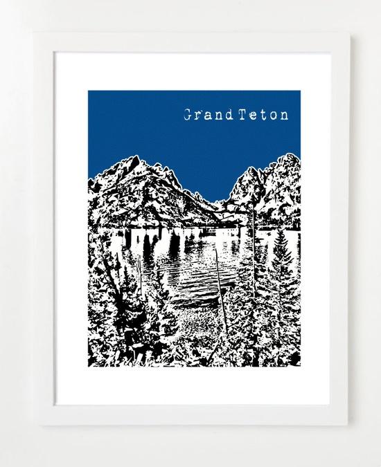 Grand Teton National Park  - Grand Tetons Art Print - Jackson Wyoming 8x10 City Poster - Wedding Gift. $20.00, via Etsy.