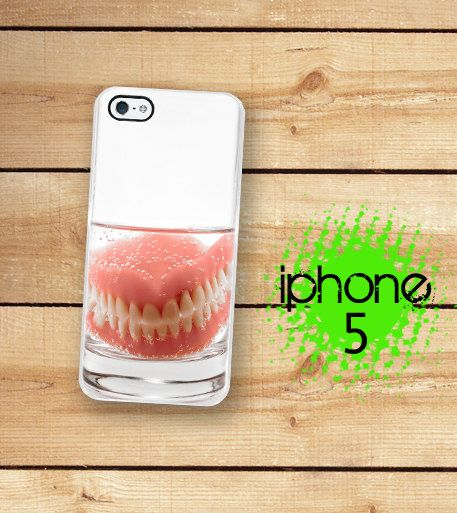 iPhone 5 Case Dentures / Hard Case For iPhone 5 Funny teeth in a Glass Plastic or Rubber Trim on Etsy, $17.99