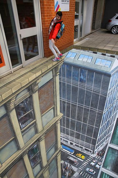 Take a long glance at this photo to figure it out! 3D street art!
