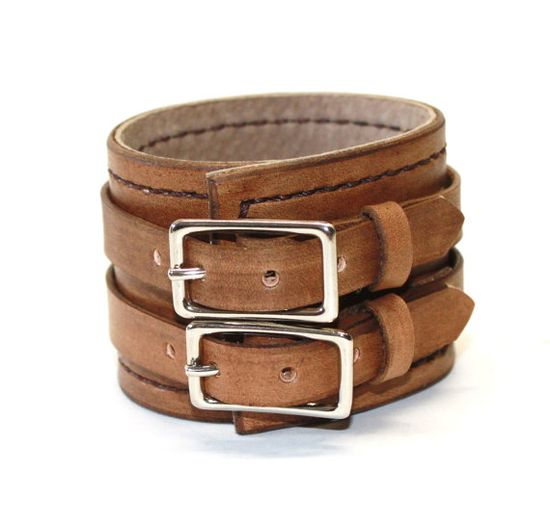 Antiqued Brown Leather Cuff Bracelet Adjustable with Buckles Mens Leather Cuff Womens Leather Cuff
