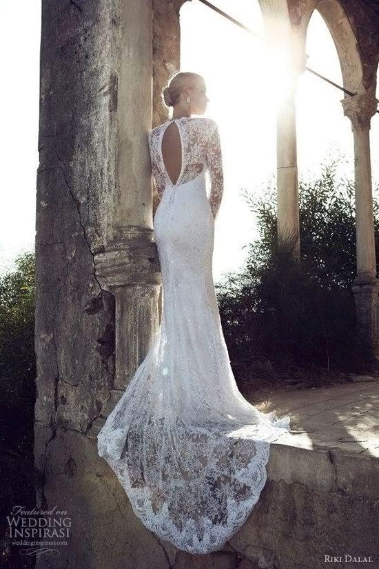 riki dalal 2013 long sleeve wedding dress/bridal gown