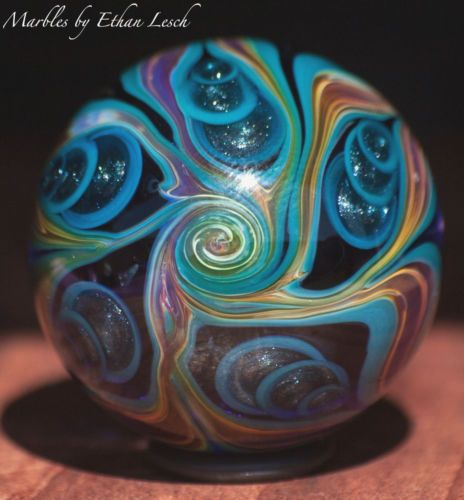 24kt Gold Handmade Marble Signed By ~Ethan Lesch~ Borosilicate, Boro, Art  ???FANTASTIC @