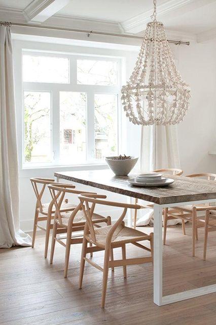 wishbone chairs- Wooden mix + Chandelier