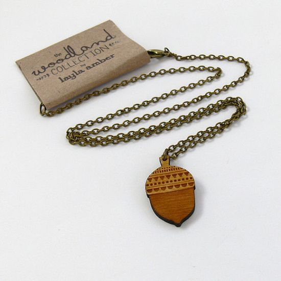 NEW  Wooden Acorn necklace by laylaamber on Etsy, £12.00