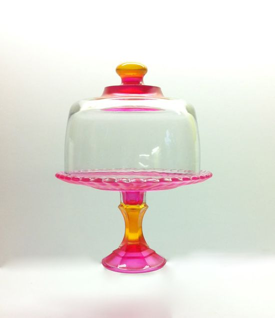 So Darn Cute Hand Painted Cupcake Stand and Dome by MarshHome, $30.00