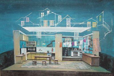 Vintage Kitchen Interior Stage Design Gouache Painting