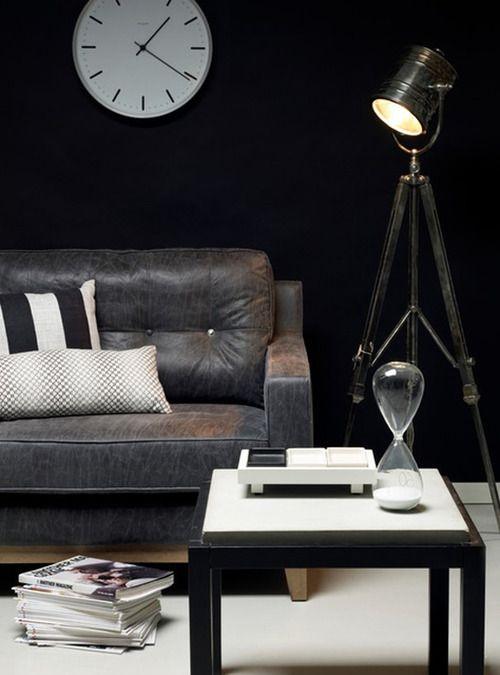 ? Masculine interior design with dark wall
