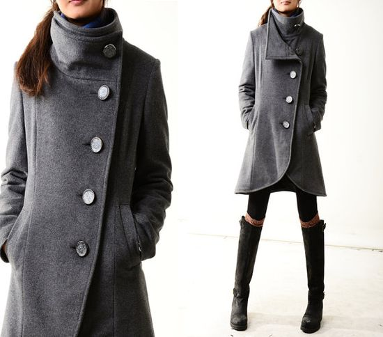 Missing you - crystal buttoned quilted cashmere coat (Y1225) on Etsy, $138.00