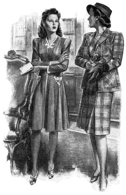 Illustration by Stanley Davis for the story House Of Glass that appeared in the July 1944 edition of Woman and Home magazine. #vintage #1940s #fashion #women
