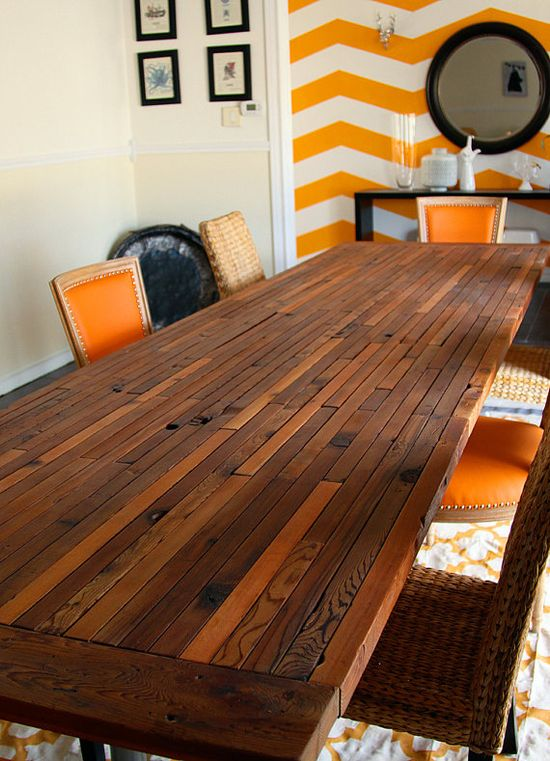 This reclaimed dining table is all kinds of amazing.