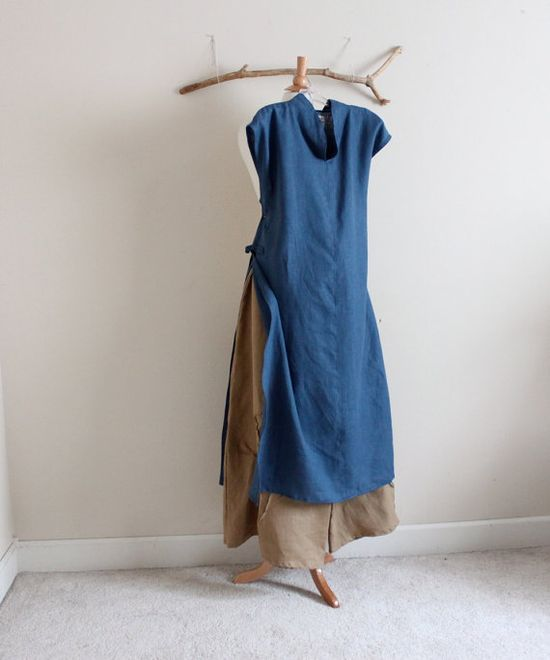 linen outfit aodai  with pants  handmade to measure  by annyschooecoclothing,