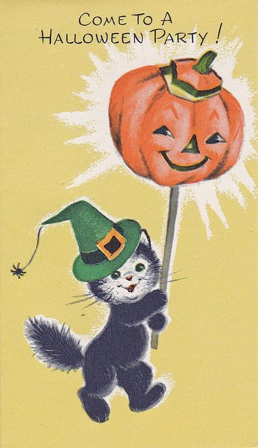 Such a wonderfully cute vintage Halloween party invitation. #cute #Halloween #card #invitation #cat #pumpkin