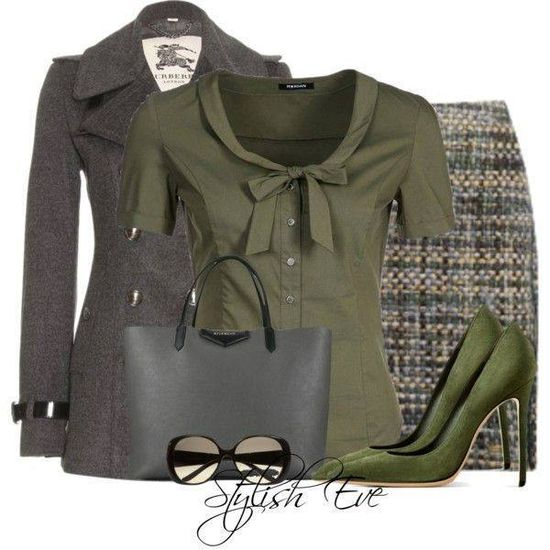 Olive work outfit