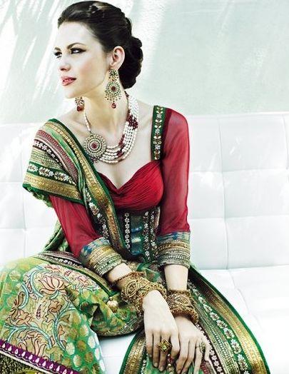 Beautiful Indian pearl and kundan jewelry set. Love her look.