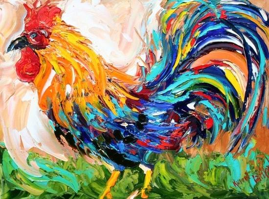 Karen Tarlton Original Rooster Oil Painting