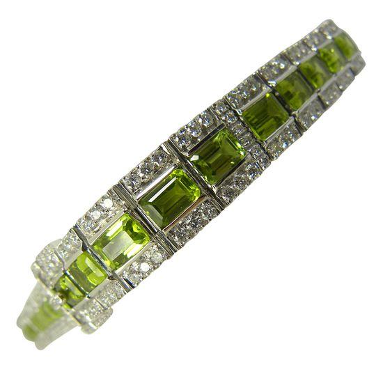Art Deco design, peridot and diamond buckle design bracelet