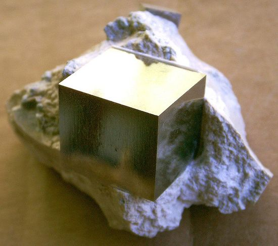 """Nature Perfect"" / prized specimen of Pyrite in a cubic crystal form on limestone matrix"