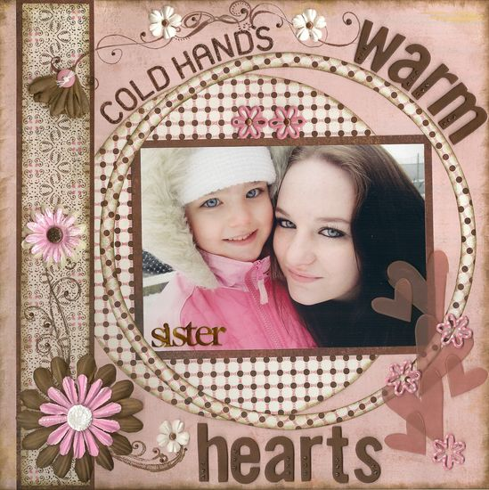 Cold Hands, Warm Heart - Scrapbook.com--like the circle and the ring of matching paper
