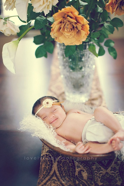 Sweet Newborn Baby Girl // with flowers!
