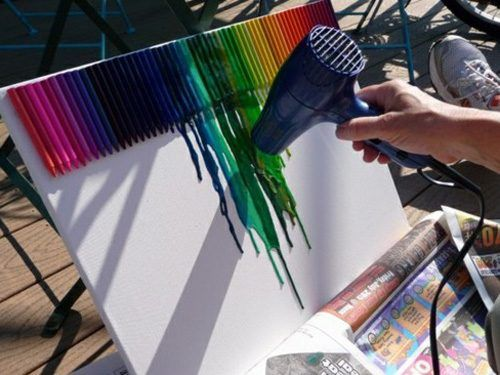 Crayon Art- Johnny and I are going to make one this summer