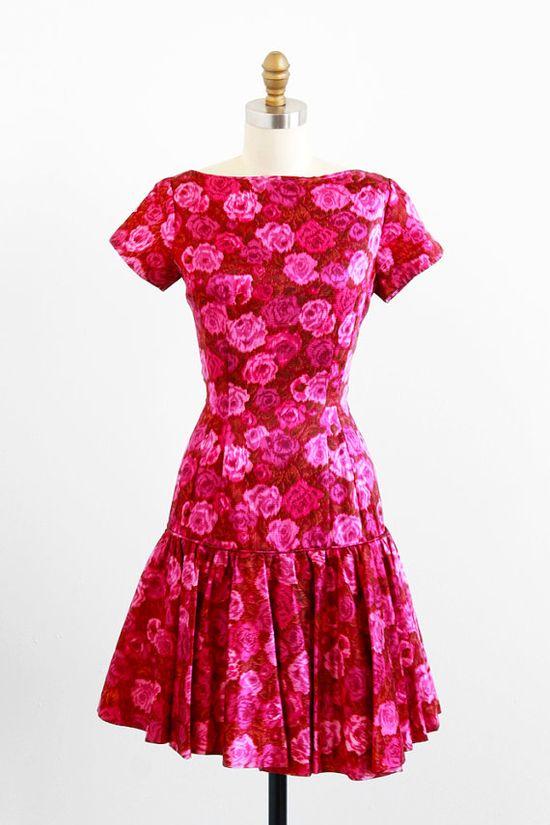 vintage 1960s dress / 60s dress / Magenta Rose Print Floral Roses Cocktail Dress